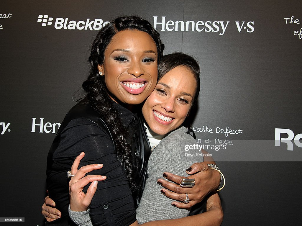 <a gi-track='captionPersonalityLinkClicked' href=/galleries/search?phrase=Jennifer+Hudson&family=editorial&specificpeople=234833 ng-click='$event.stopPropagation()'>Jennifer Hudson</a> and <a gi-track='captionPersonalityLinkClicked' href=/galleries/search?phrase=Alicia+Keys&family=editorial&specificpeople=169877 ng-click='$event.stopPropagation()'>Alicia Keys</a> attend Hennessy VS Presents 'The Inevitable Defeat of Mister and Pete' sponsored by Reebok and Blackberry at the Julie Nester Gallery on January 17, 2013 in Park City, Utah.