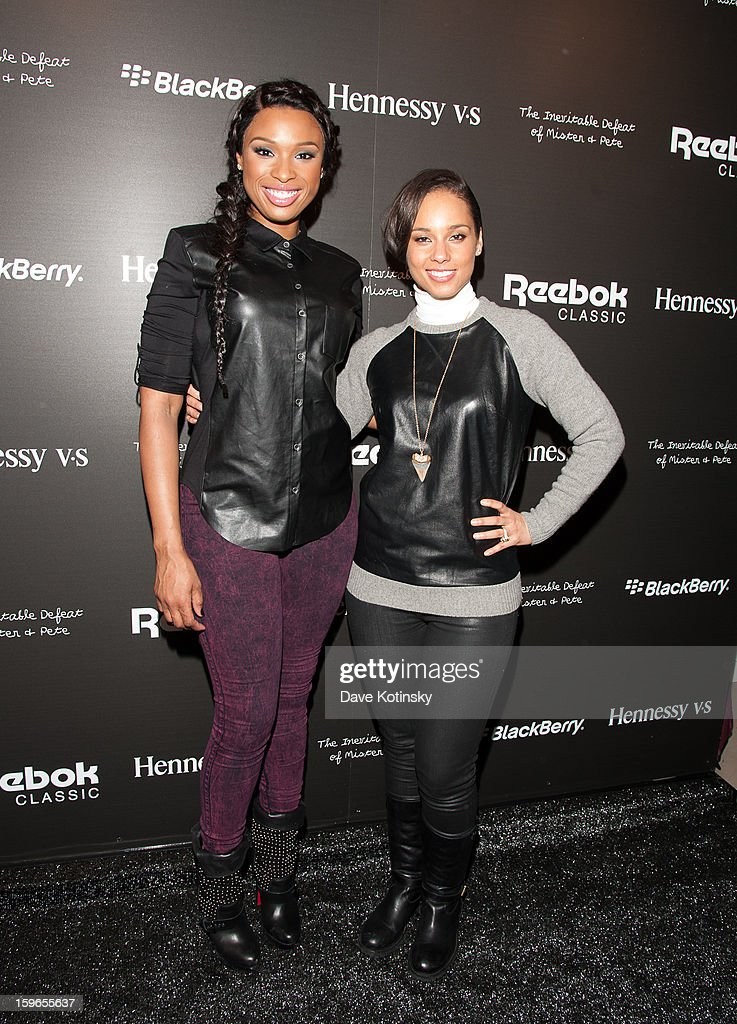 Jennifer Hudson and Alicia Keys attend the Hennessy VS Presents 'The Inevitable Defeat of Mister and Pete' sponsored by Reebok and Blackberry at the Julie Nester Gallery on January 17, 2013 in Park City, Utah.