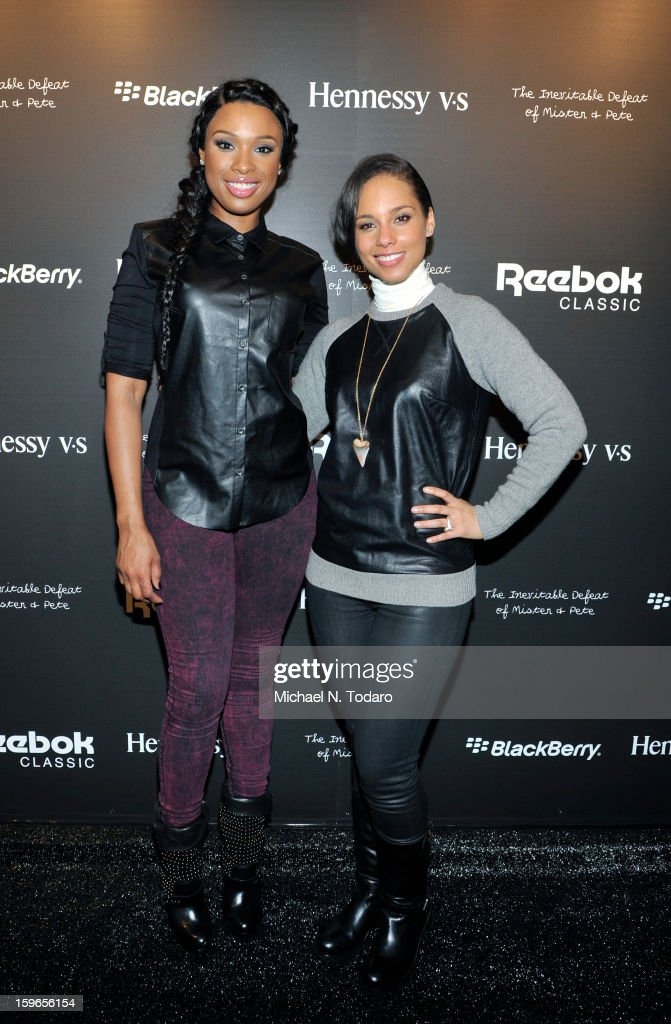 <a gi-track='captionPersonalityLinkClicked' href=/galleries/search?phrase=Jennifer+Hudson&family=editorial&specificpeople=234833 ng-click='$event.stopPropagation()'>Jennifer Hudson</a> and <a gi-track='captionPersonalityLinkClicked' href=/galleries/search?phrase=Alicia+Keys&family=editorial&specificpeople=169877 ng-click='$event.stopPropagation()'>Alicia Keys</a> attend the Hennessy VS Presents 'The Inevitable Defeat of Mister and Pete' sponsored by Reebok and Blackberry at the Julie Nester Gallery on January 17, 2013 in Park City, Utah.