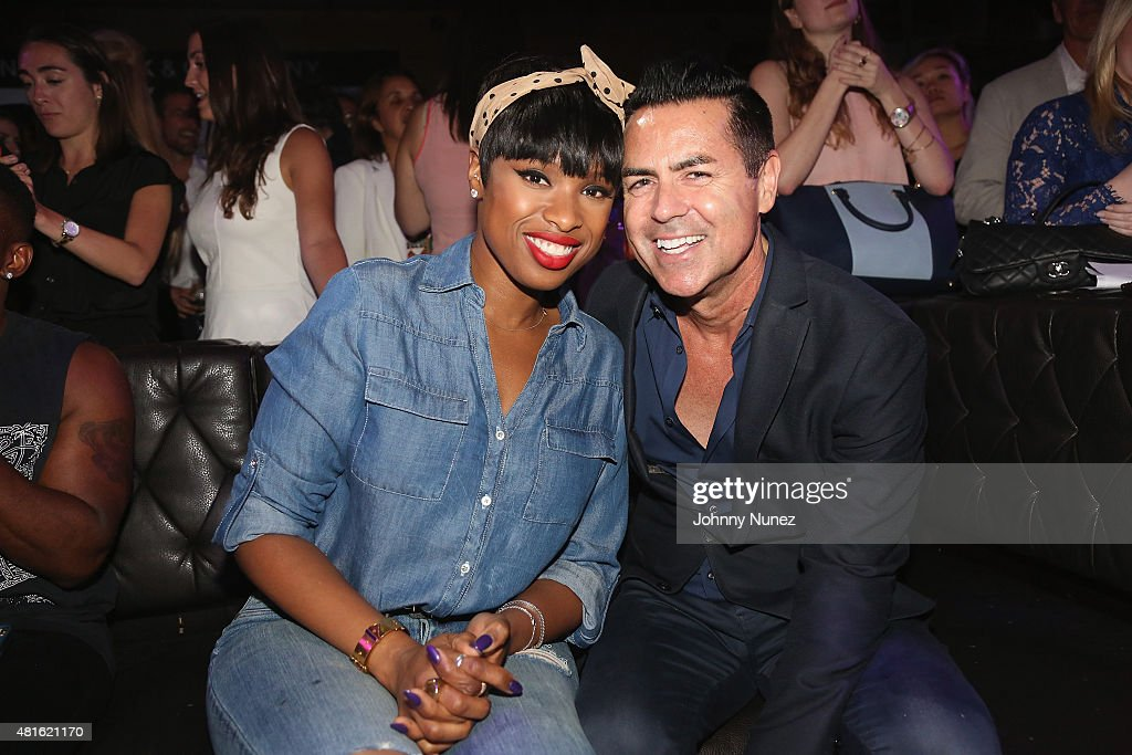 Jennifer Hudson (L) and CEO at New York & Company Greg Scott attend the #SohoJeansSingOff hosted by New York & Company with Jennifer Hudson at Marquee on July 22, 2015 in New York City.