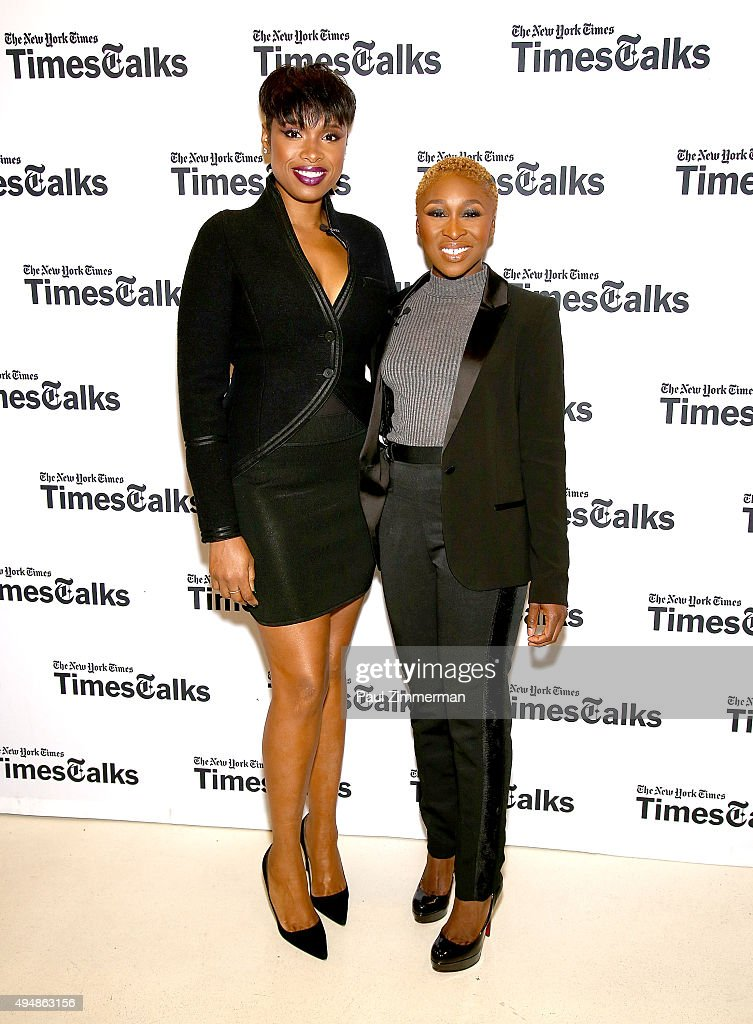 Jennifer Hudson (L) and Cynthia Erivo attend 'The Color Purple' TimesTalks: Jennifer Hudson, Cynthia Erivo, Alice Walker, John Doyle at The New School on October 29, 2015 in New York City.