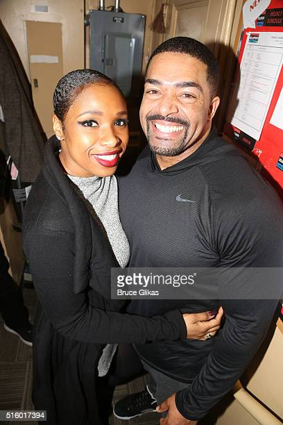 Jennifer Hudson and David Otunga pose backstage at the play 'Eclipsed' on Broadway at The Golden Theatre on March 16 2016 in New York City