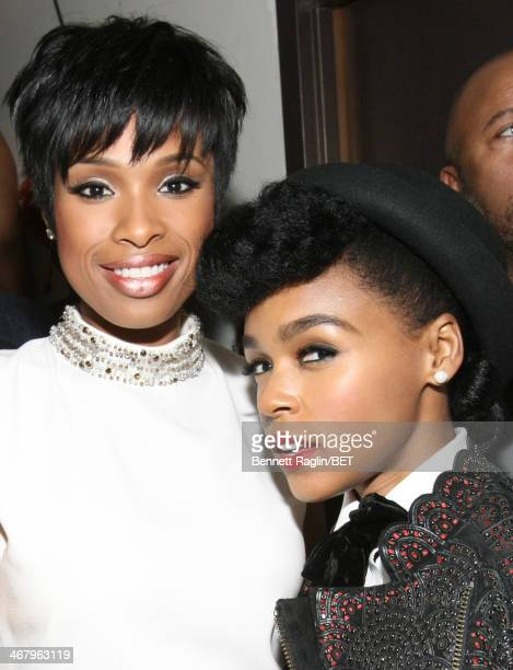 Jennifer Hudson and Janelle Monae pose backstage at BET Honors 2014 at Warner Theatre on February 8 2014 in Washington DC