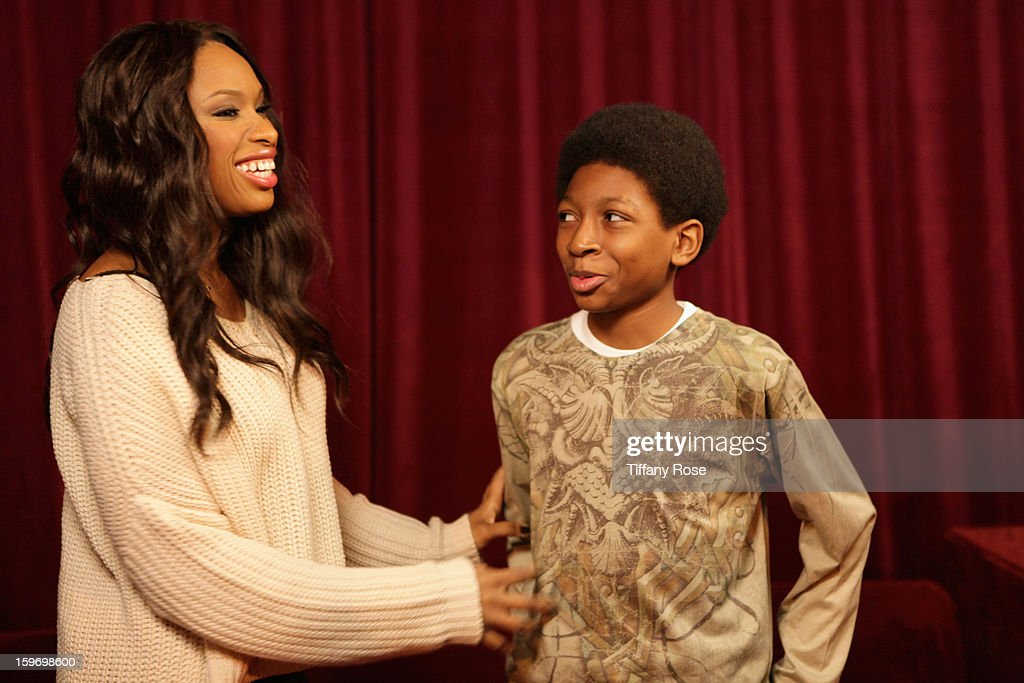 <a gi-track='captionPersonalityLinkClicked' href=/galleries/search?phrase=Jennifer+Hudson&family=editorial&specificpeople=234833 ng-click='$event.stopPropagation()'>Jennifer Hudson</a> and Skylan Brooks attend Day 1 of Tea of A Kind at Village At The Lift 2013 on January 18, 2013 in Park City, Utah.
