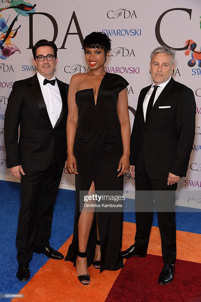 <a gi-track='captionPersonalityLinkClicked' href=/galleries/search?phrase=Jennifer+Hudson&family=editorial&specificpeople=234833 ng-click='$event.stopPropagation()'>Jennifer Hudson</a> (C) attends the 2014 CFDA fashion awards at Alice Tully Hall, Lincoln Center on June 2, 2014 in New York City.