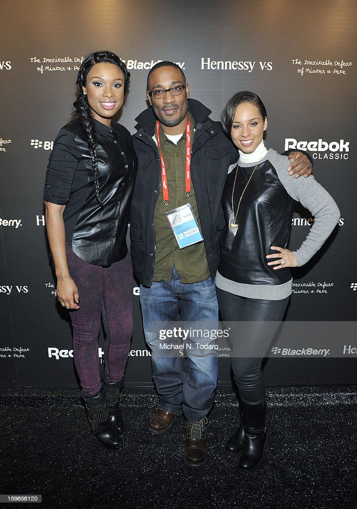 <a gi-track='captionPersonalityLinkClicked' href=/galleries/search?phrase=Jennifer+Hudson&family=editorial&specificpeople=234833 ng-click='$event.stopPropagation()'>Jennifer Hudson</a>, George Tillman Jr. and Alicia keys attend the Hennessy VS Presents 'The Inevitable Defeat of Mister and Pete' sponsored by Reebok and Blackberry at the Julie Nester Gallery on January 17, 2013 in Park City, Utah.