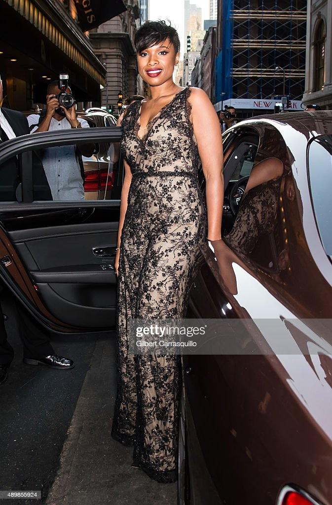 Jennifer Hudson is seen arriving at Marchesa fashion show during Spring 2016 New York Fashion Week at St. Regis Hotel on September 16, 2015 in New York City.