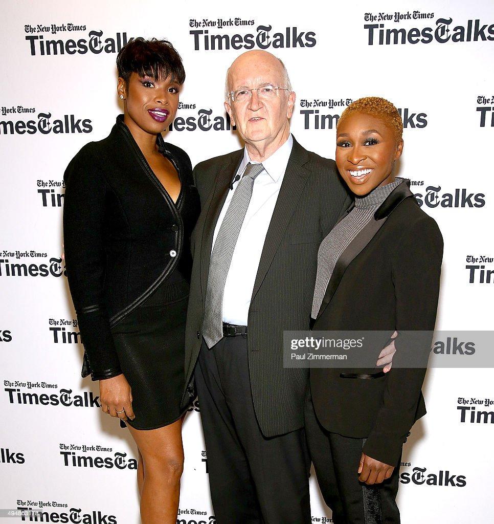 Jennifer Hudson, John Doyle and Cynthia Erivo attend 'The Color Purple' TimesTalks: Jennifer Hudson, Cynthia Erivo, Alice Walker, John Doyle at The New School on October 29, 2015 in New York City.