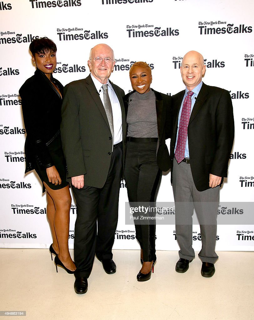 Jennifer Hudson, John Doyle, Cynthia Erivo and Michael Paulson attend 'The Color Purple' TimesTalks: Jennifer Hudson, Cynthia Erivo, Alice Walker, John Doyle at The New School on October 29, 2015 in New York City.