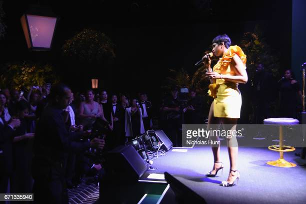 Jennifer Hudson performs at the Tiffany Co 2017 Blue Book Collection Gala at ST Ann's Warehouse on April 21 2017 in New York City