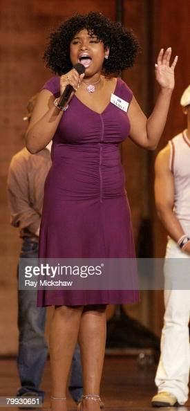 Jennifer Hudson performs during Hollywood round of auditions for 'American Idol' Season 3 in October of 2003 in Pasadena California