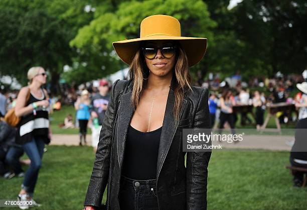 Jennifer is seen wearing a Haider Ackerman jacket and Brixol hat during the 2015 Governors Ball Music Festival at Randall's Island on June 5 2015 in...