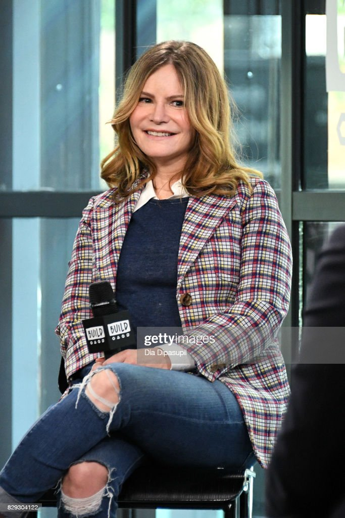 Jennifer Jason Leigh visits Build to discuss the film 'Good Time' at Build Studio on August 10, 2017 in New York City.