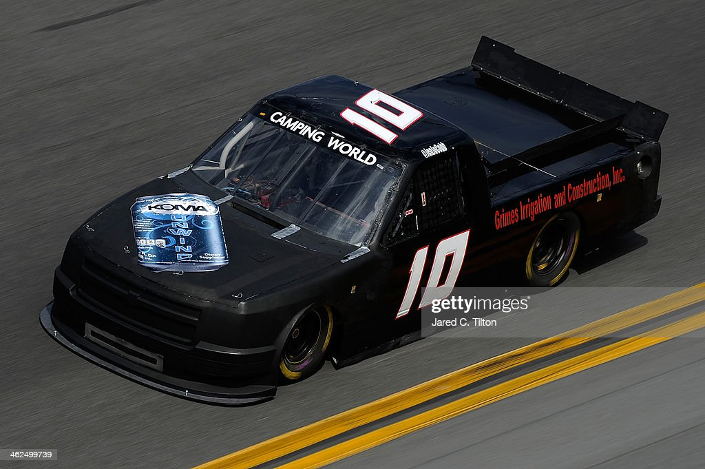 Jennifer Jo Cobb drives the #10 Jennifer Jo Cobb Racing Chevrolet during NASCAR Preseason Thunder at Daytona International Speedway on January 13, 2014 in Daytona Beach, Florida.
