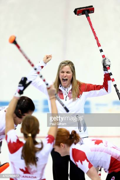 Jennifer Jones of Canada celebrates winning the women's semifinal match between Great Britain and Canada at Ice Cube Curling Center on February 19...