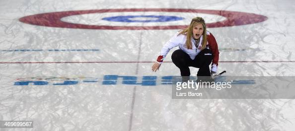 Jennifer Jones of Canada reacts during Curling Women's Round Robin match between USA and Canada on day nine of the Sochi 2014 Winter Olympics at Ice...
