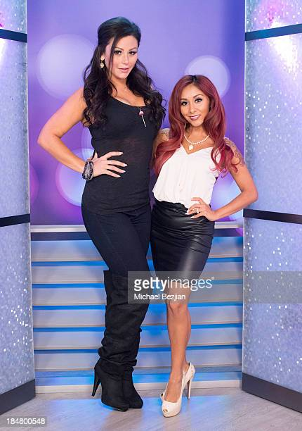 Jennifer 'JWoww' Farley and Nicole 'Snooki' Polizzi attend Snooki And JWoww Visit Hollyscoop/The Lowdown on October 16 2013 in Hollywood California