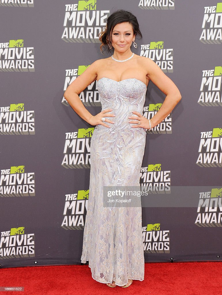 Jennifer 'JWoww' Farley arrives at the 2013 MTV Movie Awards at Sony Pictures Studios on April 14, 2013 in Culver City, California.