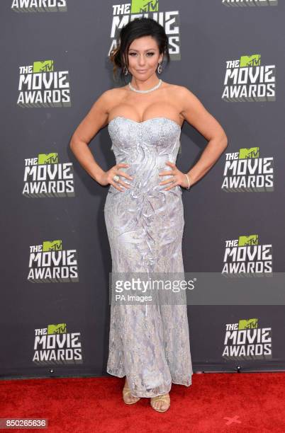 Jennifer 'JWoww' Farley arrives at The MTV Movie Awards 2013 at Sony Pictures Studios Culver City Los Angeles