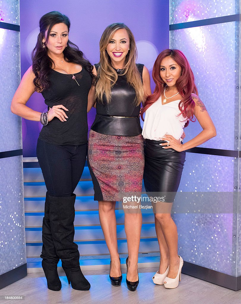 Jennifer 'JWoww' Farley, Diana Madison and Nicole 'Snooki' Polizzi attend Snooki And JWoww Visit Hollyscoop/The Lowdown on October 16, 2013 in Hollywood, California.