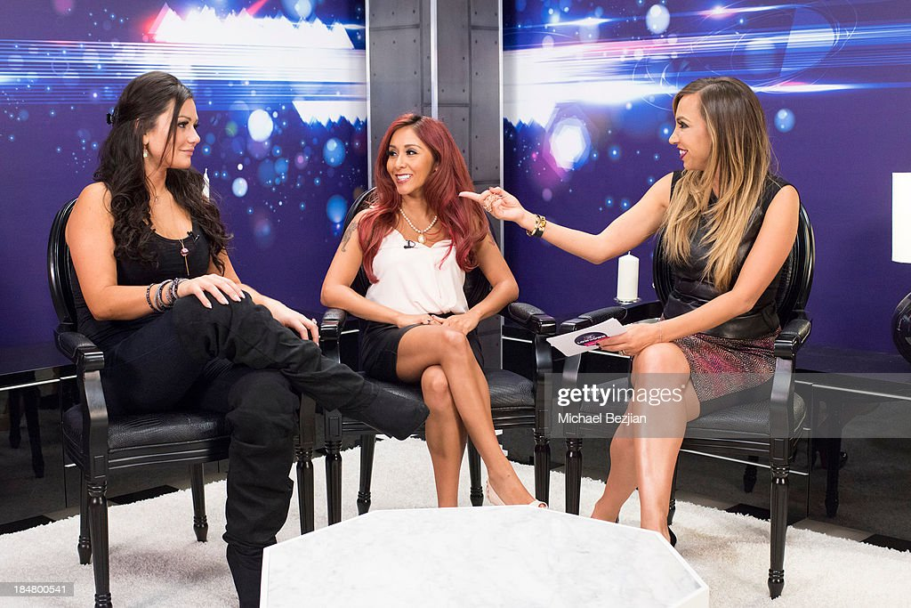 Jennifer 'JWoww' Farley, Nicole 'Snooki' Polizzi and Diana Madison attend Snooki And JWoww Visit Hollyscoop/The Lowdown on October 16, 2013 in Hollywood, California.