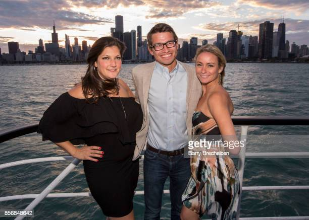Jennifer Karum Arturas Kerelis and Kristin HumDellat the 'Conrad' series party on the Spirit of Chicago boat event showcasing the new crime drama...