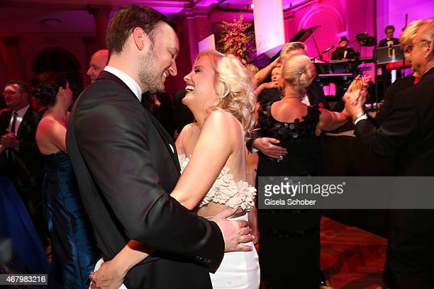 Jennifer Knaeble and her boyfriend Felix Moese during the Spring Ball Frankfurt 2015 at Palmengarten on March 28 2015 in Frankfurt am Main Germany