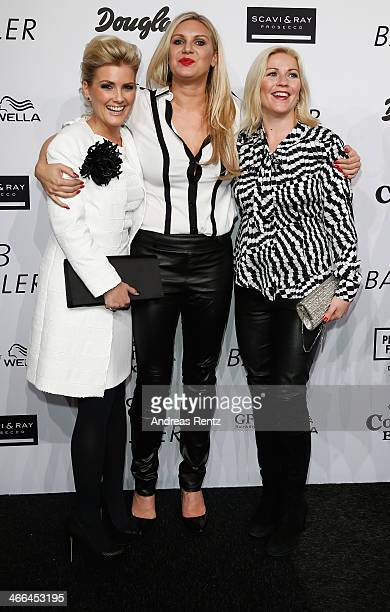 Jennifer Knaeble Magdalena Brzeska and Aleksandra Bechtel attend the Basler fashion show on February 1 2014 in Dusseldorf Germany