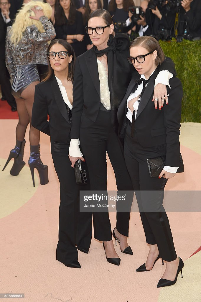 Jennifer Konner, Jenna Lyons, and Lena Dunham attend the 'Manus x Machina: Fashion In An Age Of Technology' Costume Institute Gala at Metropolitan Museum of Art on May 2, 2016 in New York City.