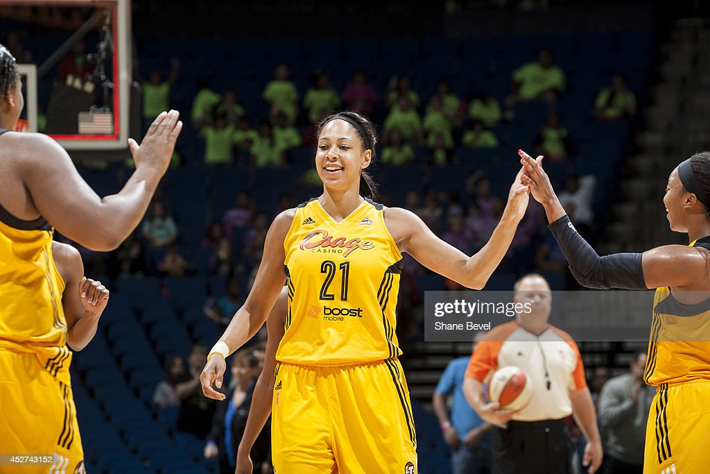 Jennifer Lacy #21 of the Tulsa Shock celebrates during the WNBA game against the San Antonio Stars on July 17, 2014 at the BOK Center in Tulsa, Oklahoma.