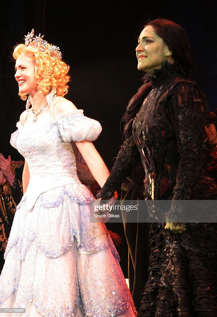 Jennifer Laura Thompson and Shoshana Bean during Idina Menzel's Final Performance In 'Wicked' After Injury During The Show at The Gershwin Theater in New York, NY, United States.