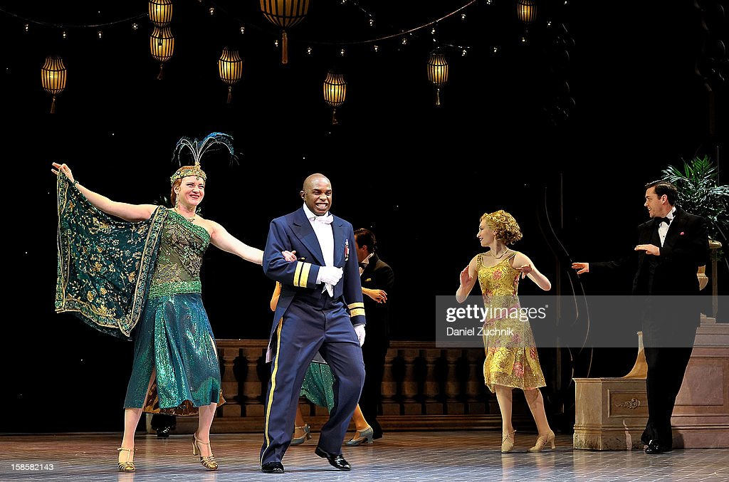 Jennifer Laura Thompson and Stanley Wayne Mathis attend the 'Nice Work If You Can Get It' Broadway curtain call at Imperial Theatre on December 19, 2012 in New York City.