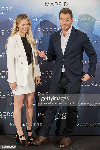 Jennifer Lawrence and Chris Pratt attend 'Passengers' photocall at Hotel Villa Magna on November 30 2016 in Madrid Spain