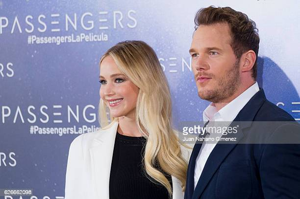 Jennifer Lawrence and Chris Pratt attend 'Passengers' photocall at Villa Magna Hotel on November 30 2016 in Madrid Spain