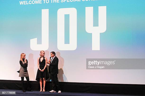 Jennifer Lawrence and Director David O Russell attend a special screening of 'Joy' at Ham Yard Hotel on December 17 2015 in London England