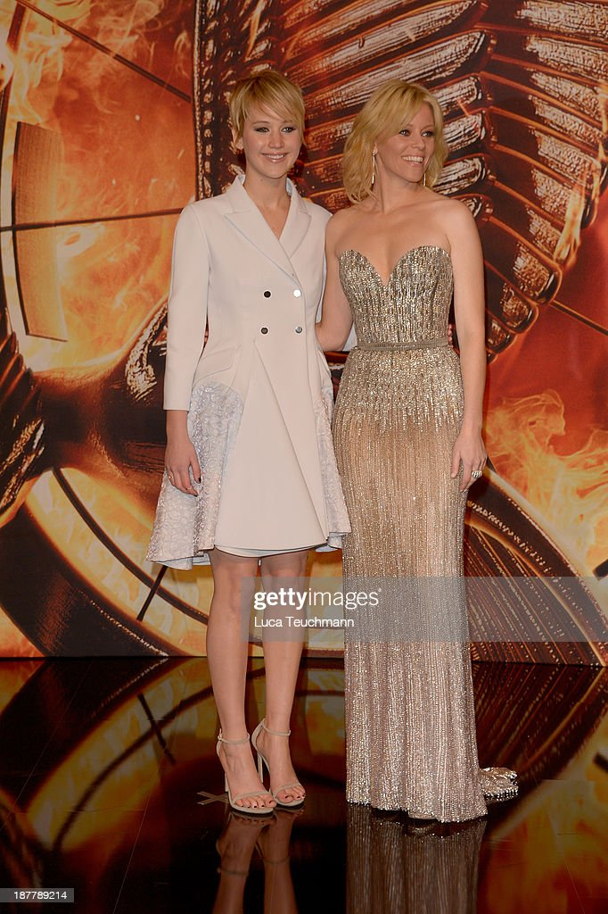 Jennifer Lawrence and Elizabeth Banks attend the German premiere of the film 'The Hunger Games - Catching Fire' (Tribute von Panem - Catching Fire) at Sony Centre on November 12, 2013 in Berlin, Germany.