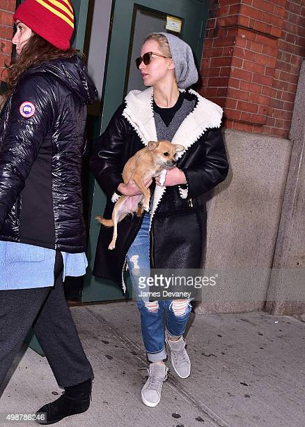 Jennifer Lawrence and her dog seen on the streets of Manhattan on November 25 2015 in New York City