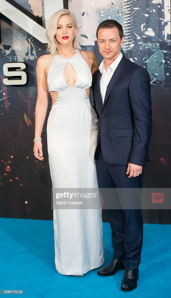 Jennifer Lawrence and James McAvoy attend a Global Fan Screening of 'XMen Apocalypse' at BFI IMAX on May 9 2016 in London England