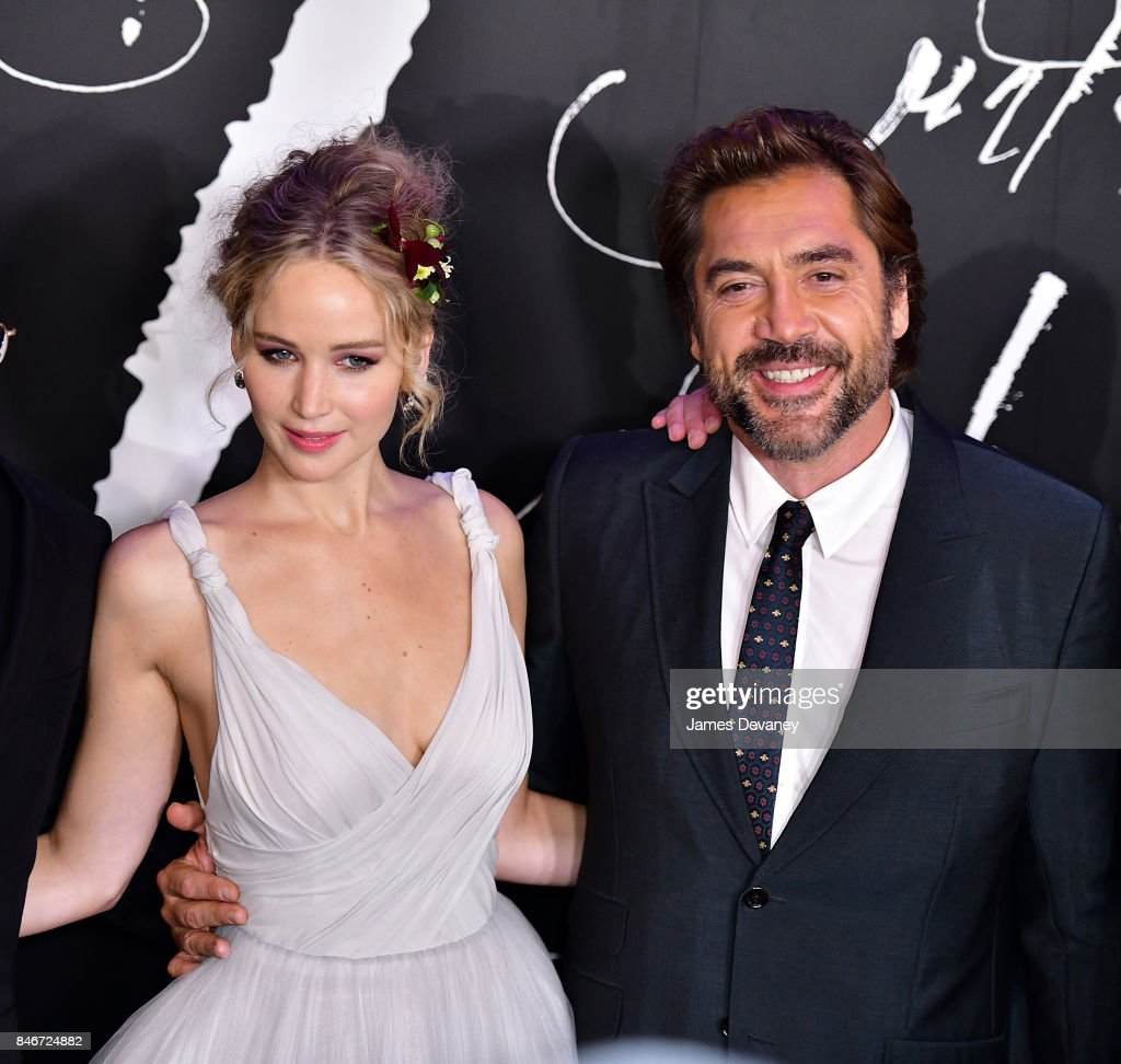 Jennifer Lawrence and Javier Bardem attend 'mother!' New York premiere at Radio City Music Hall on September 13, 2017 in New York City.