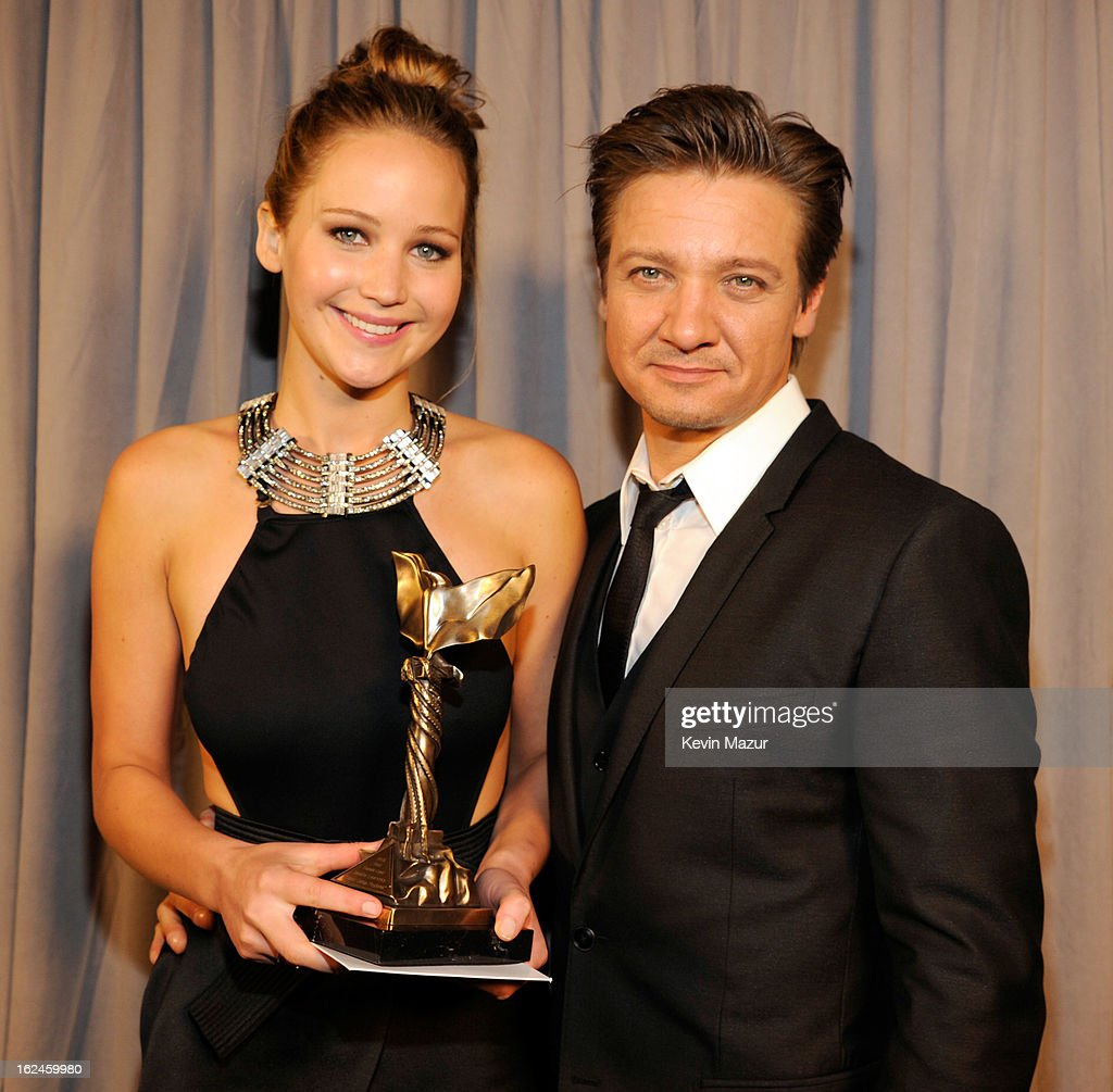 Jennifer Lawrence and Jeremy Renner attend the 2013 Film Independent Spirit Awards at Santa Monica Beach on February 23, 2013 in Santa Monica, California.