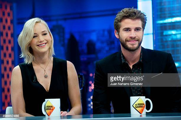 Jennifer Lawrence and Liam Hemsworth attend 'El Hormiguero' Tv show at Vertice Studio on November 26 2015 in Madrid Spain