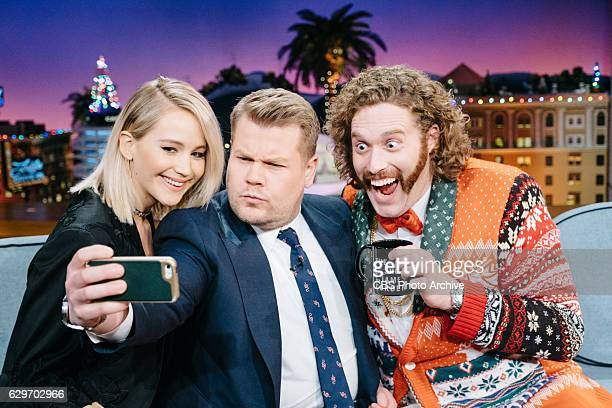 Jennifer Lawrence and TJ Miller chat with James Corden during 'The Late Late Show with James Corden' Tuesday December 13 2016 On The CBS Television...
