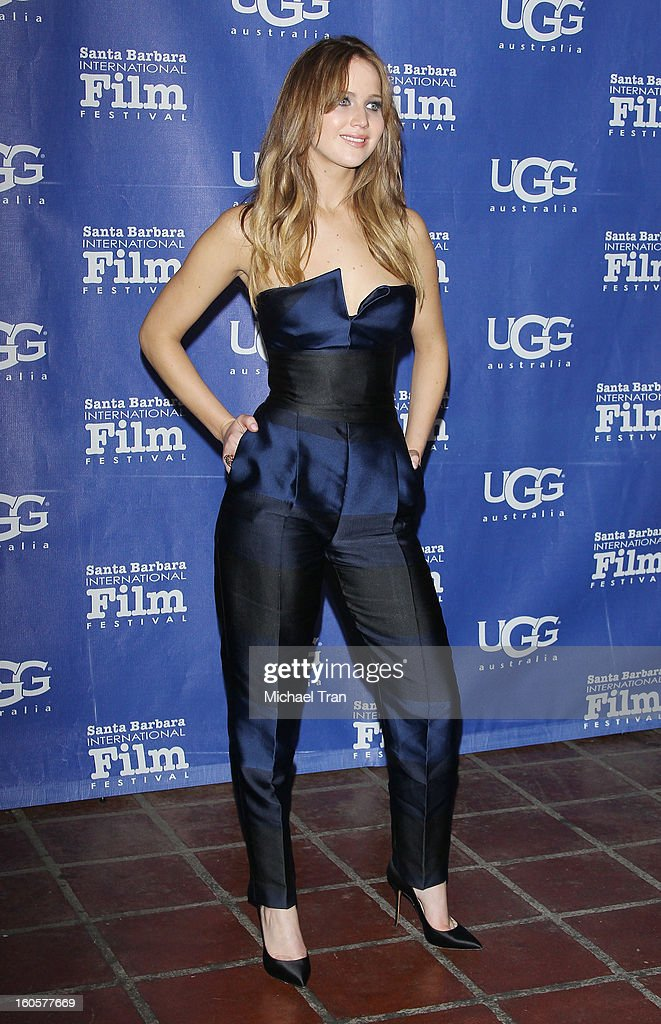 Jennifer Lawrence arrives at 28th Santa Barbara Film Festival - honoring her with the Outstanding Performer of The Year Award held at Arlington Theatre on February 2, 2013 in Santa Barbara, California.