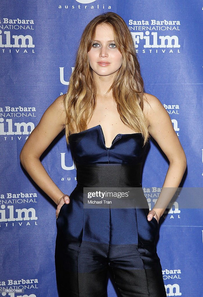 <a gi-track='captionPersonalityLinkClicked' href=/galleries/search?phrase=Jennifer+Lawrence&family=editorial&specificpeople=1596040 ng-click='$event.stopPropagation()'>Jennifer Lawrence</a> arrives at 28th Santa Barbara Film Festival - honoring her with the Outstanding Performer of The Year Award held at Arlington Theatre on February 2, 2013 in Santa Barbara, California.