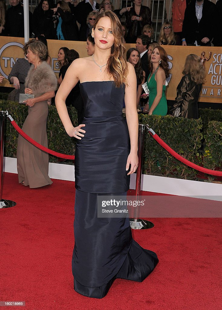 Jennifer Lawrence arrives at the 19th Annual Screen Actors Guild Awards at The Shrine Auditorium on January 27, 2013 in Los Angeles, California.