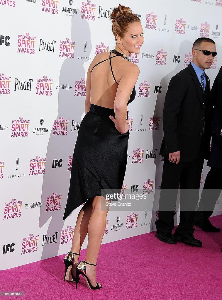 Jennifer Lawrence arrives at the 2013 Film Independent Spirit Awards on February 23, 2013 in Santa Monica, California.