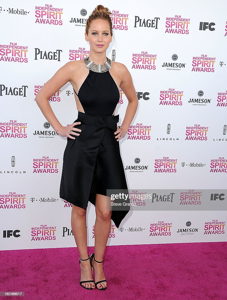 Jennifer Lawrence arrives at the 2013 Film Independent Spirit Awards on February 23, 2013 in Santa Monica, California.