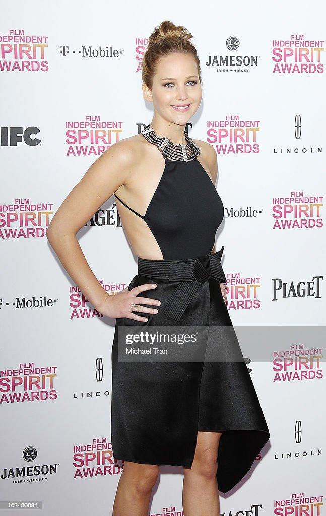 Jennifer Lawrence arrives at the 2013 Film Independent Spirit Awards held on February 23, 2013 in Santa Monica, California.