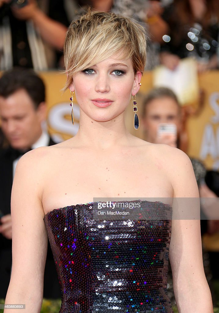 <a gi-track='captionPersonalityLinkClicked' href=/galleries/search?phrase=Jennifer+Lawrence&family=editorial&specificpeople=1596040 ng-click='$event.stopPropagation()'>Jennifer Lawrence</a> arrives at the 20th Annual Screen Actors Guild Awards at the Shrine Auditorium on January 18, 2014 in Los Angeles, California.