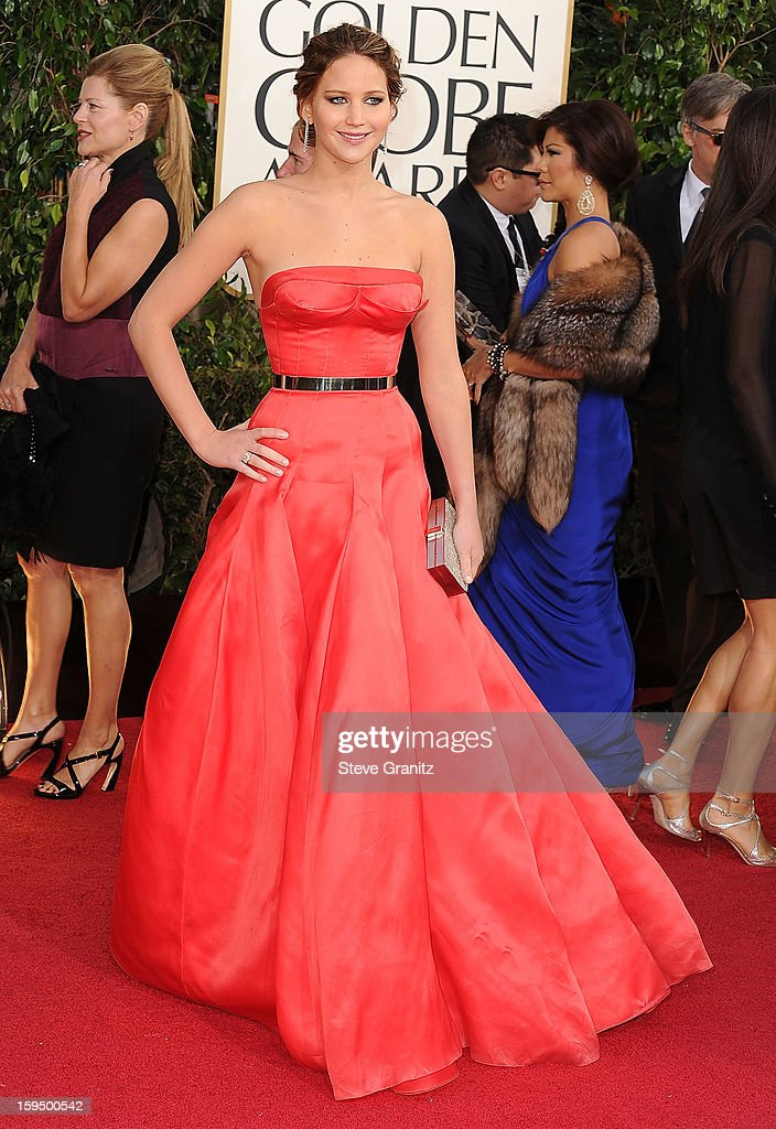 Jennifer Lawrence arrives at the 70th Annual Golden Globe Awards at The Beverly Hilton Hotel on January 13, 2013 in Beverly Hills, California.